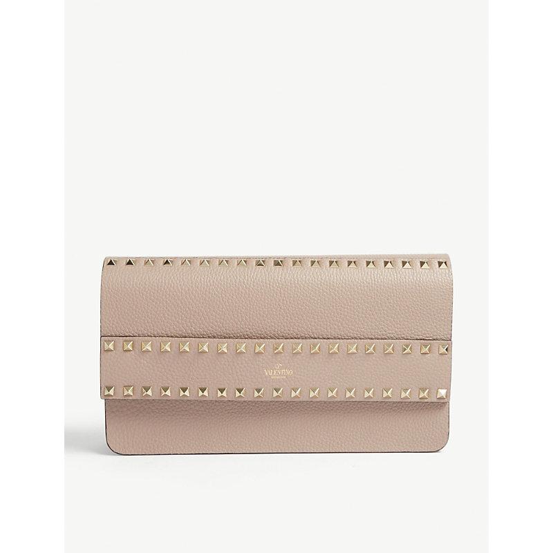 Valentino Garavani Ladies Light Pink Leather Rockstud Rowstud Clutch Bag, Size: 16.5x28x6cm