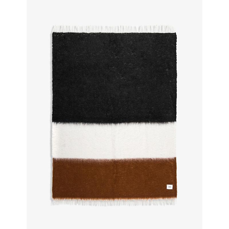 V46 mohair and wool-blend striped blanket 135cm x 200cm