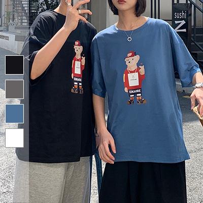 嘻哈棒球帽熊情侶短袖TEE【000433CAAA】