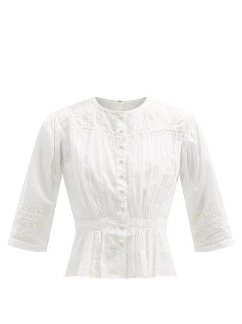 Mimi Prober - Barton Lace-trimmed Organic-cotton Blouse - Womens - White