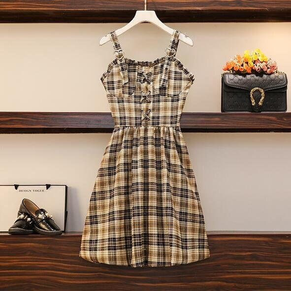洋裝格子裙吊帶裙中大尺碼M-4XL大碼甜酷少女精緻愛心繫帶長裙復古格子連身裙4F053-2336. 果果輕時尚