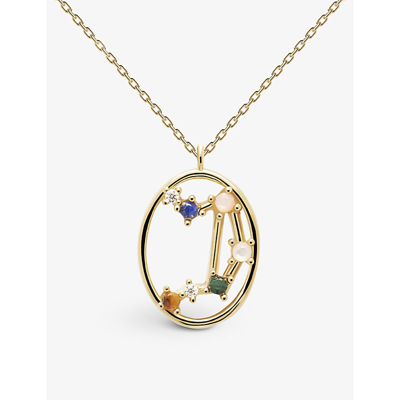 Zodiac Libra 18ct gold-plated sterling silver and gemstone necklace