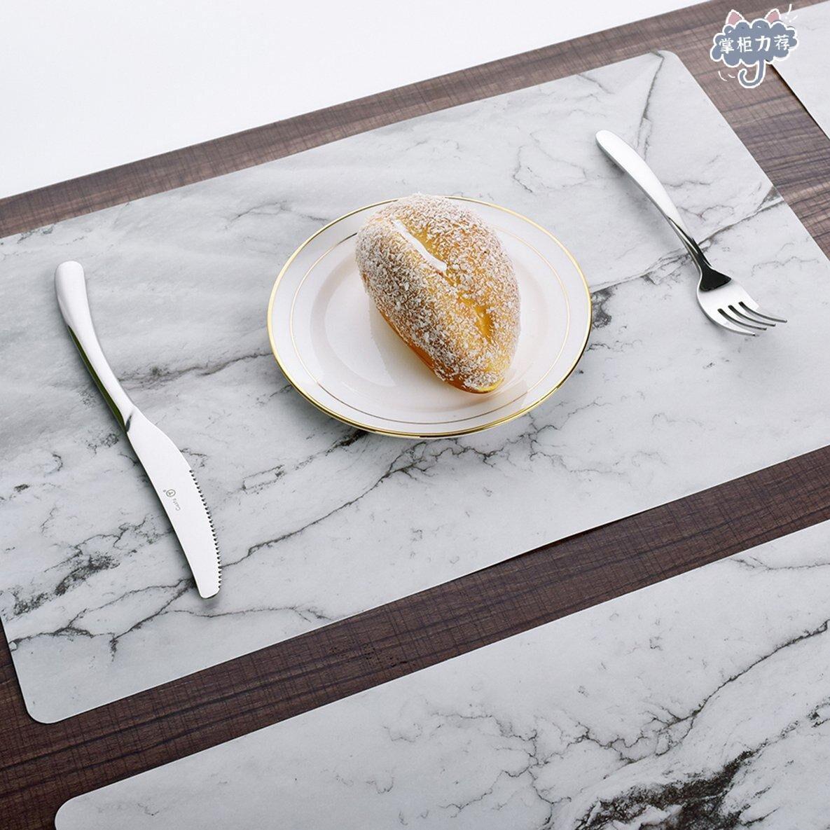 【全館免運】兩個大理石花紋防滑隔熱PVC餐桌墊 隔熱墊 防燙桌墊 桌墊 杯墊 碗墊 兩個裝