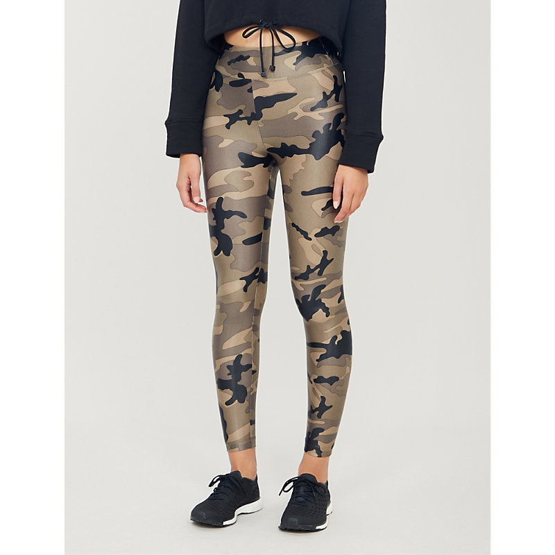 Camouflage-print Lustrous high-shine stretch-jersey leggings