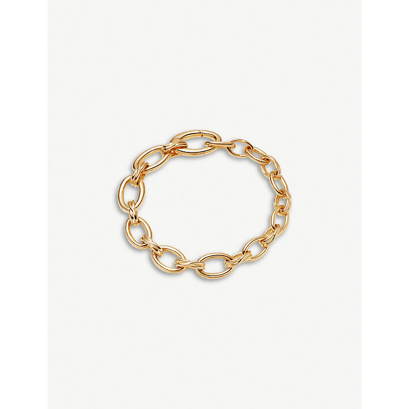 Graduated oval-link 18ct yellow gold-plated vermeil brass bracelet