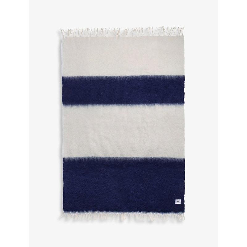 V36 mohair and wool-blend striped blanket 135cm x 200cm
