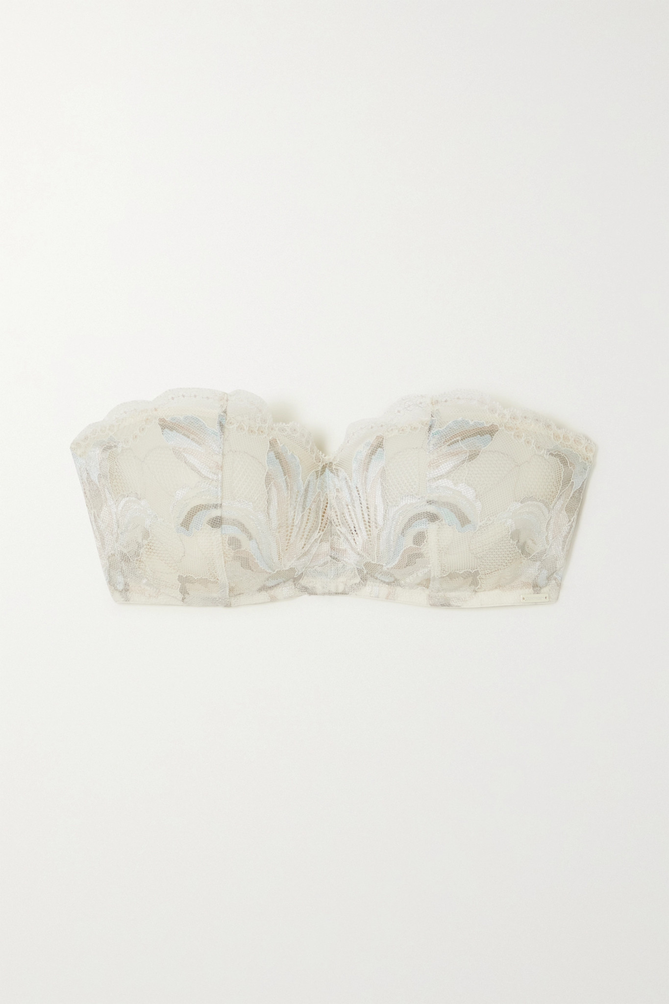 CALVIN KLEIN - Amarylis Lace-trimmed Tulle Underwired Bra - White - 32B