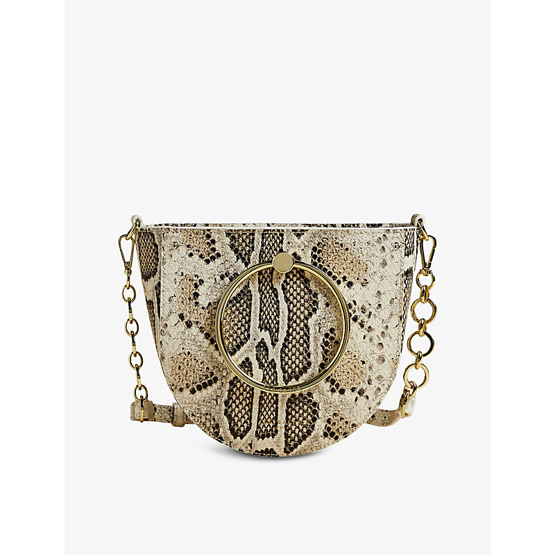 Nitza snake-embossed leather crossbody bag