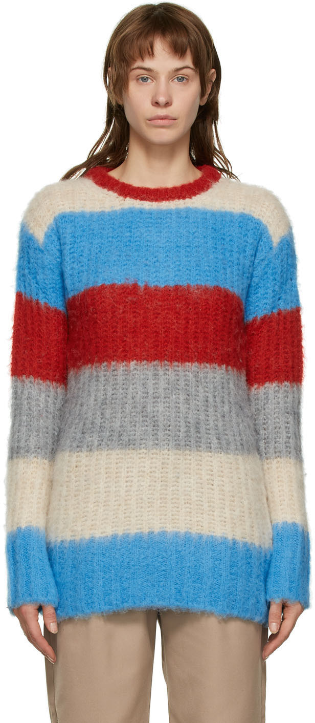 Maison Kitsuné 多色 Fluffy 条纹毛衣