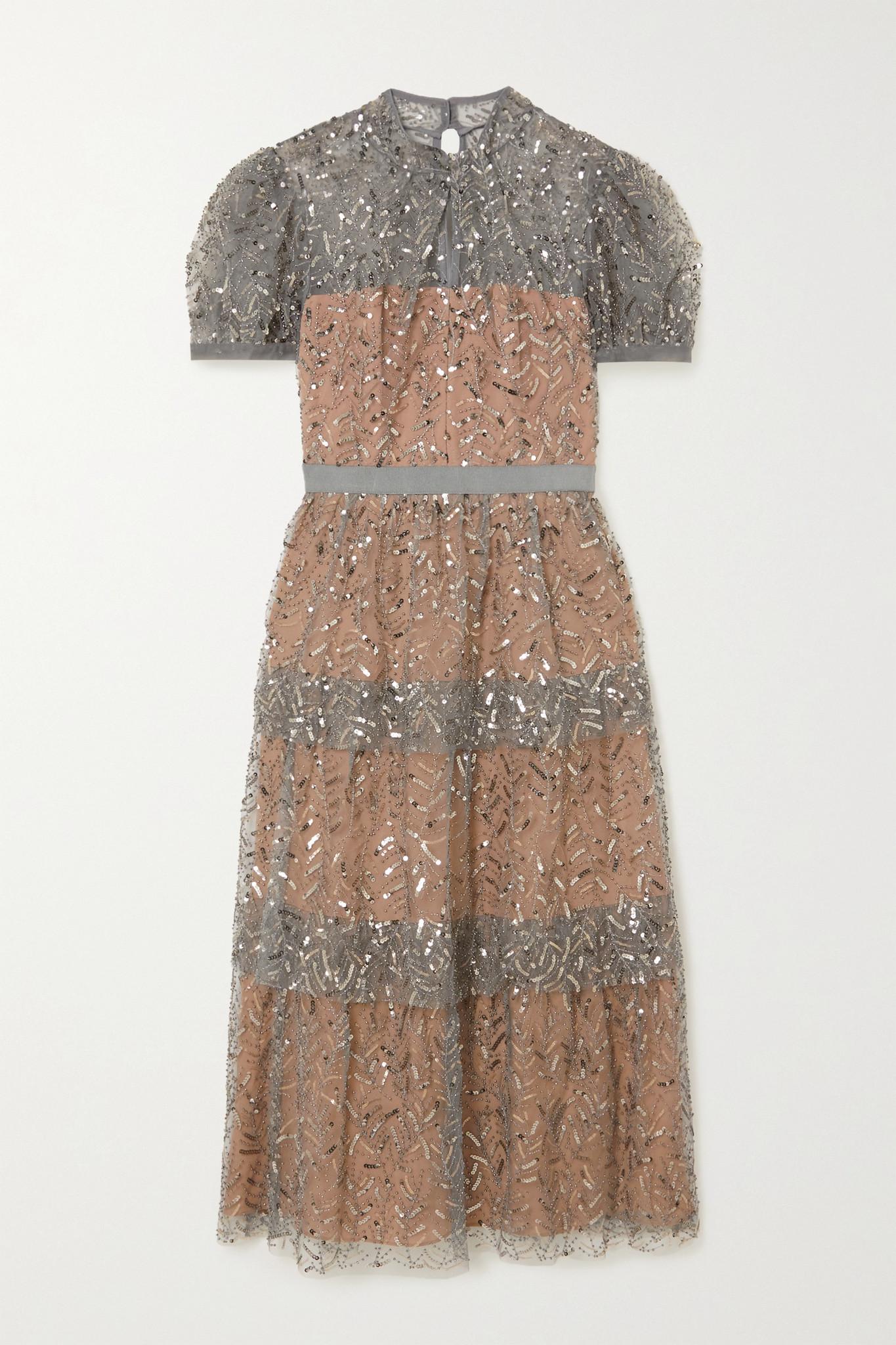SELF-PORTRAIT - Embellished Tiered Tulle Midi Dress - Gray - UK12
