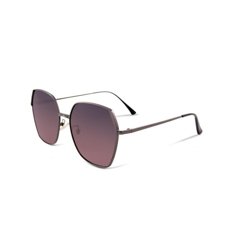 德爾菲的輕悅瞭望│錦葵粉藍拚邊微方鐵灰細框偏光墨鏡│UV400太陽眼鏡 錦葵粉藍