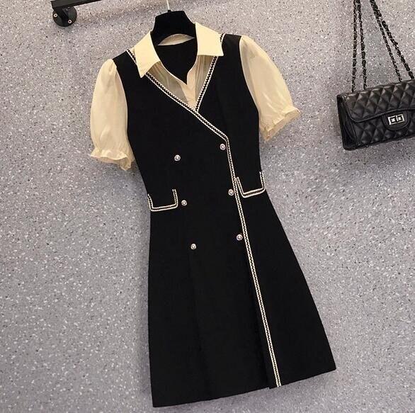 洋裝連身裙中大尺碼L-4XL新款大碼顯瘦假兩件套裙子禦姐輕熟風減齡4F093-18145. 果果輕時尚