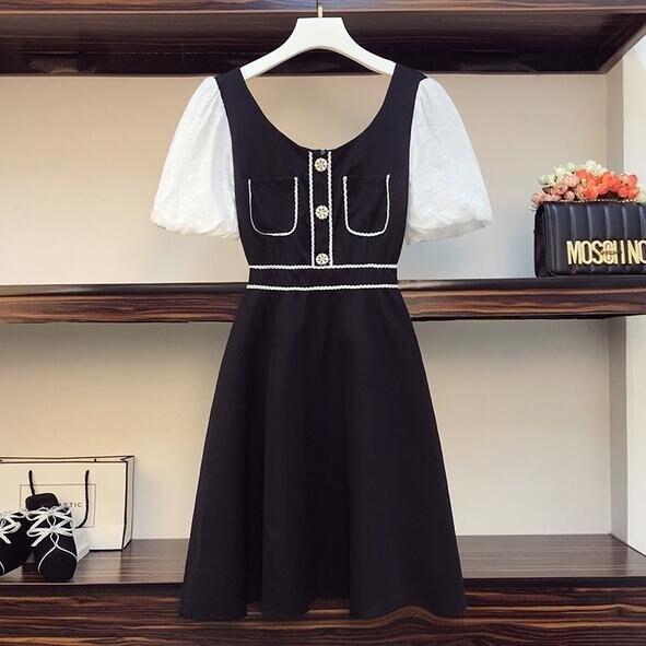 洋裝裙子拼接中大尺碼L-4XL新款大碼微胖mm法式顯瘦減齡拼接連身裙4F093-3752. 果果輕時尚