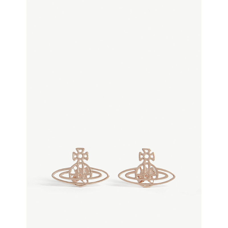 Thin lines flat rose gold-tone brass stud earrings