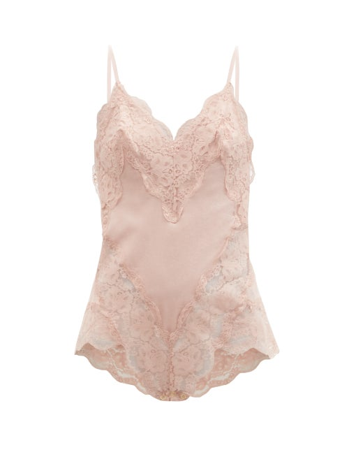 Zimmermann - Botanica Lace-trimmed Cotton-voile Bodysuit - Womens - Dusty Pink