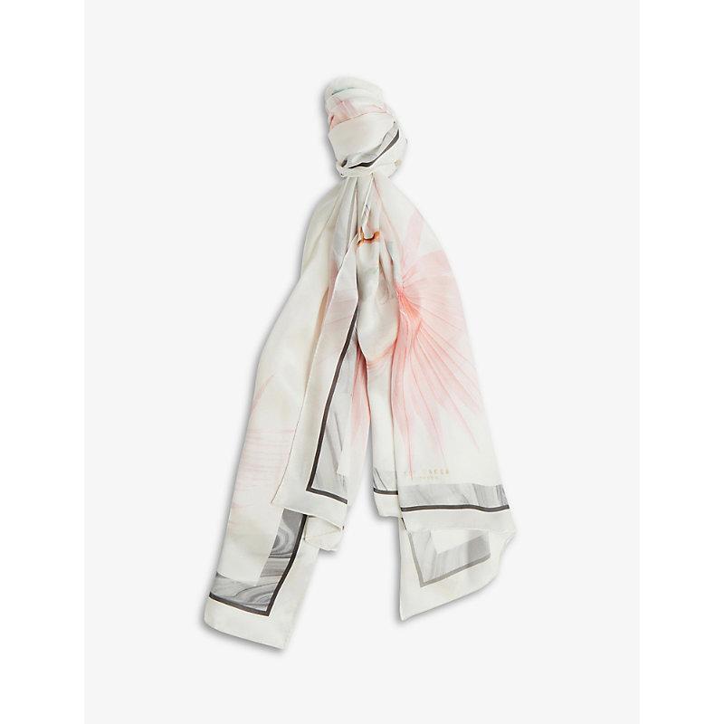 Serendipity floral-print silk scarf