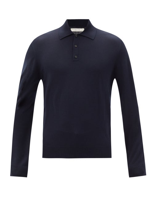 The Row - Diego Merino-wool Long-sleeved Polo Shirt - Mens - Dark Navy
