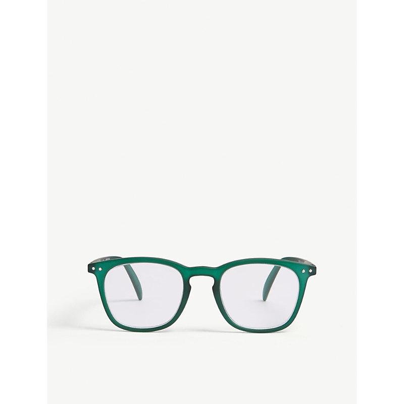 E Reading square-frame glasses +2