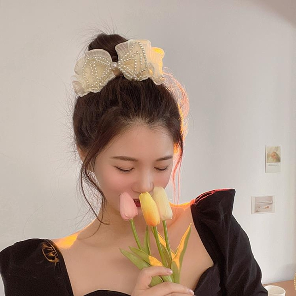 韓國珍珠蝴蝶結發夾后腦勺甜美發卡網紅2021年新款夾子頭飾 璐璐生活館