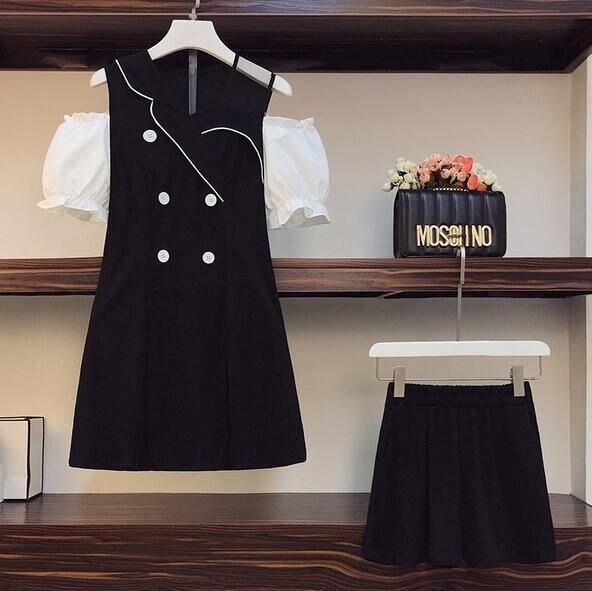 套裝連身裙短褲中大尺碼L-4XL新款洋氣露肩顯瘦法式連衣裙短褲兩件套4F093-3691. 果果輕時尚