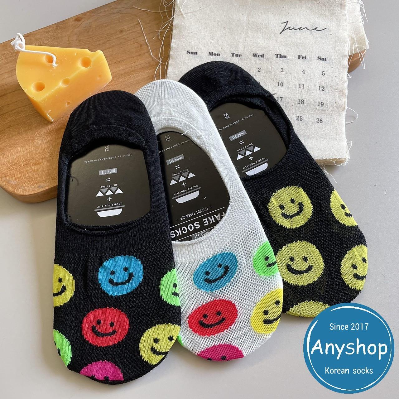 韓國襪-[Anyshop]笑臉洞洞船型襪