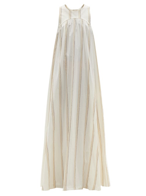 Ssone - Puglia Tie-back Striped Cotton-blend Maxi Dress - Womens - Ivory Multi