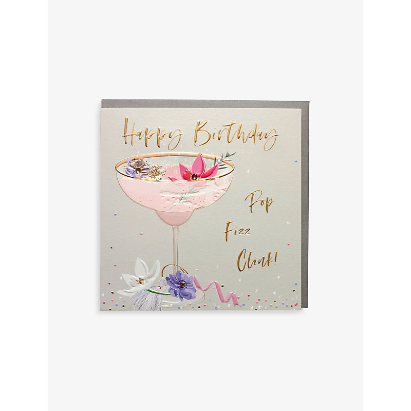 Happy Birthday Pop Fizz Clink greetings card 16.5cm x 16.5cm