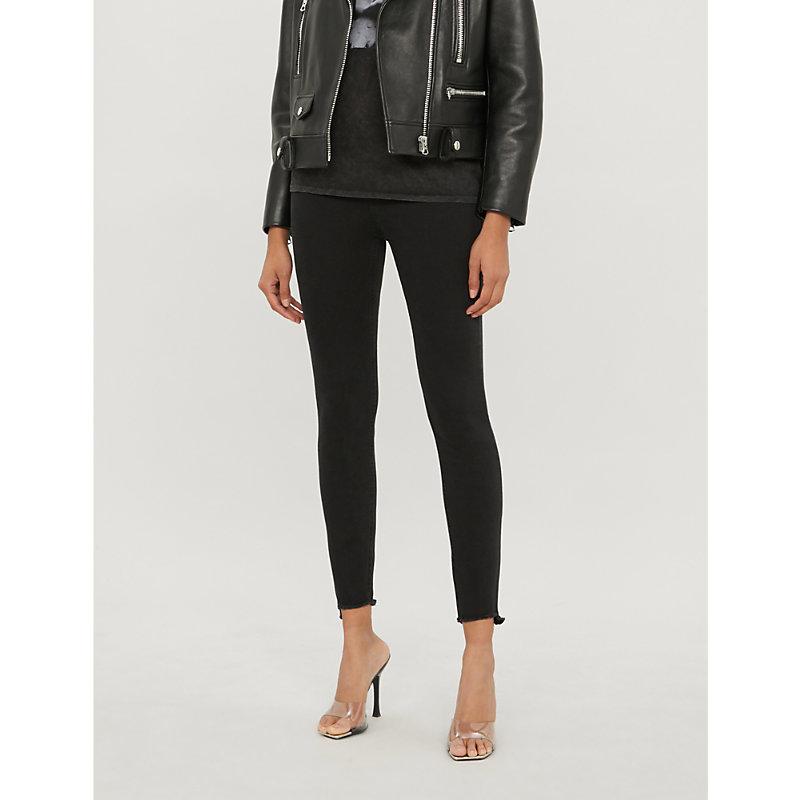 Sabrina frayed-hem skinny high-rise jeans