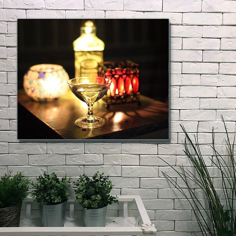 燭光酒杯/無框複製畫/原木實木背框/阿飛攝影A0037