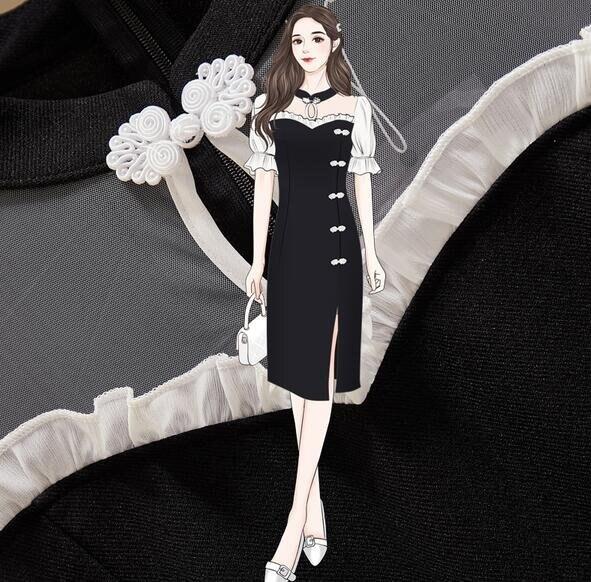 洋裝連身裙中大尺碼L-4XL改良旗袍大碼洋氣復古風中長款裙子4F054-6805. 果果輕時尚