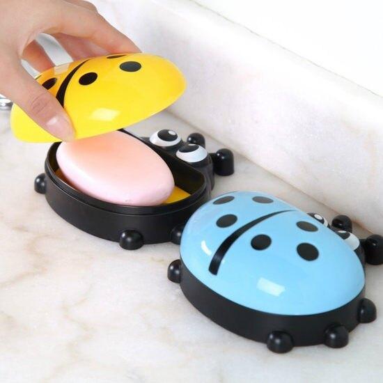 卡通瓢蟲香皂盒 帶蓋 肥皂 衛浴 洗手 水槽 清潔 輕洗 排水 軟化 濾水 MY COLOR【N090】