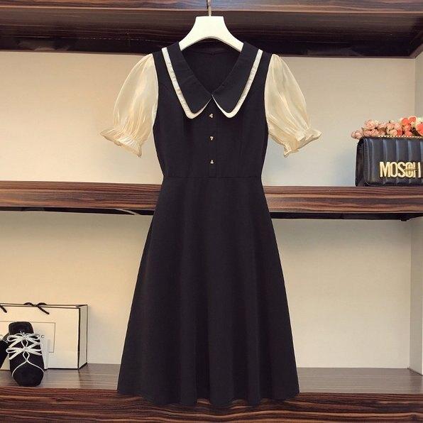 洋裝裙子娃娃領L-4XL中大尺碼減齡顯瘦大碼中長款連衣裙R04.2919 果果輕時尚