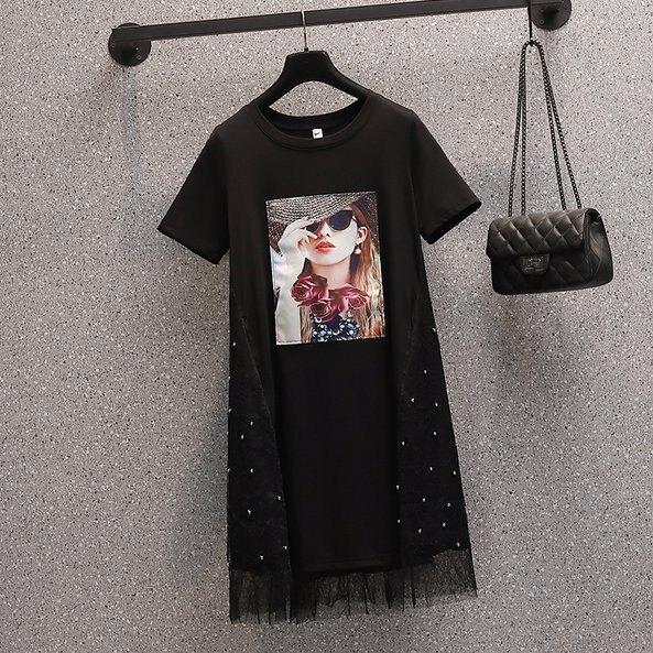 裙子長版衣T裙L-4XL中大尺碼寬鬆釘珠減齡顯瘦網紗拼接胖MM連衣裙R06B.9348 果果輕時尚