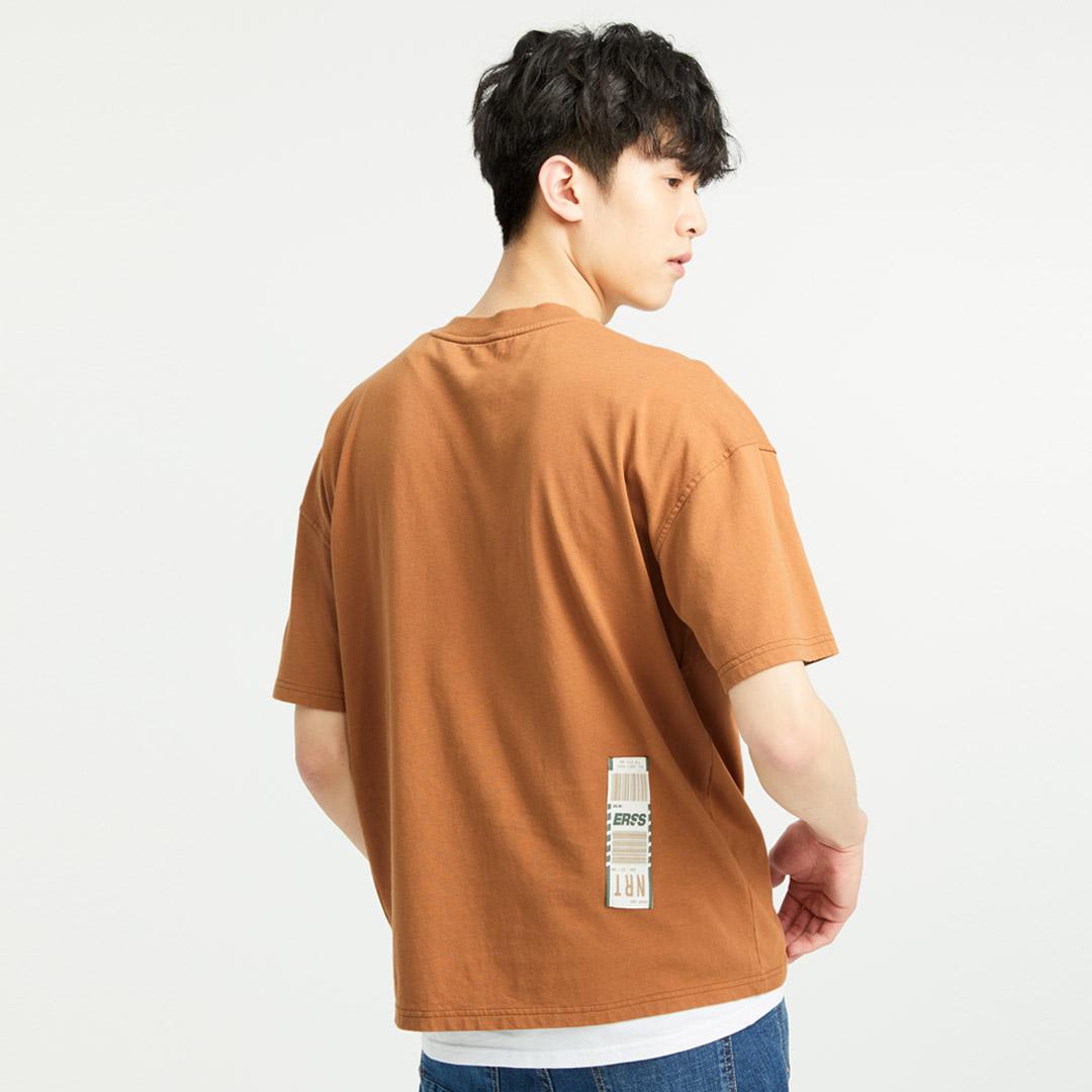 標籤大貼袋純棉圓領T恤(褐色)-男