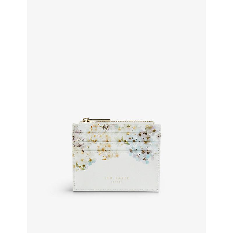 Vanilla logo-embossed leather card holder