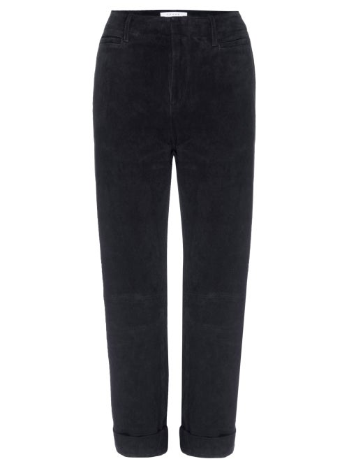 Frame - Le Tomboy High-rise Suede Trousers - Womens - Black