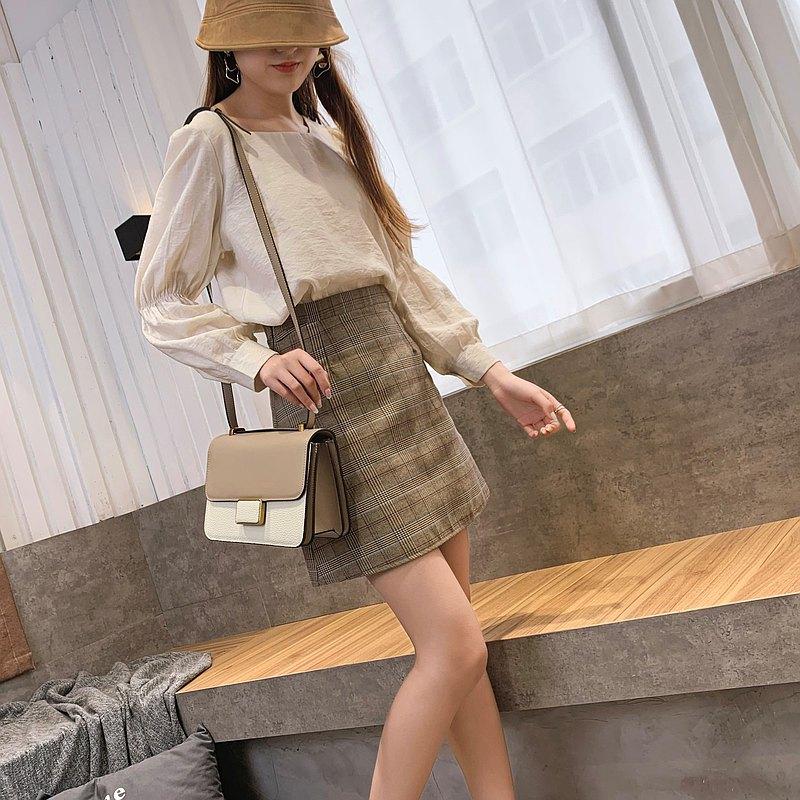 時尚拼色斜肩包 Hakken 側背包 手提包 皮革 單肩包 杏仁奶茶色
