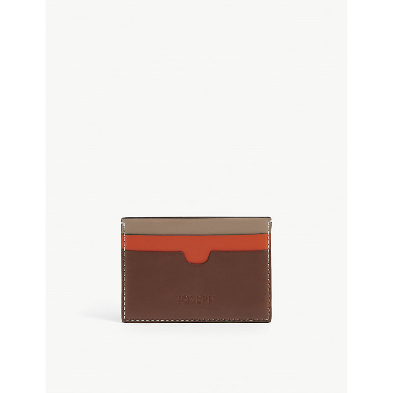 Colour-blocked brand-debossed leather card holder