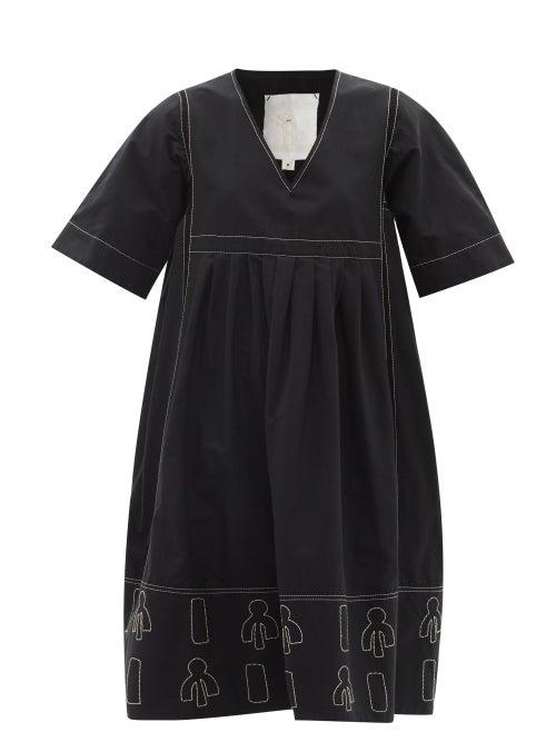 Ssone - Reiko Embroidered Organic-cotton Blend Dress - Womens - Black