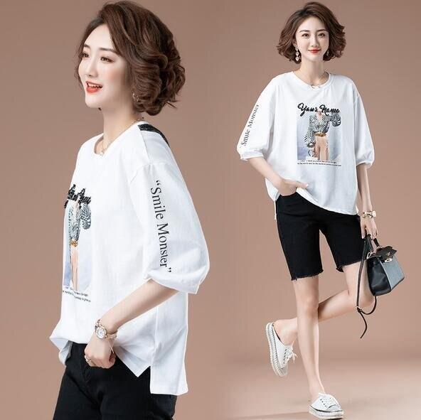 上衣簡約圓領寬鬆T中大尺碼M-4XL新款七分袖上衣歐貨燙鑽白色印花T卹NB033B-5813. 果果輕時尚
