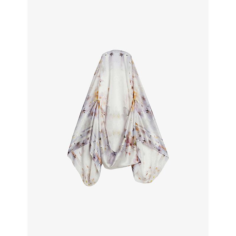Fiifi vanilla-print silk cape