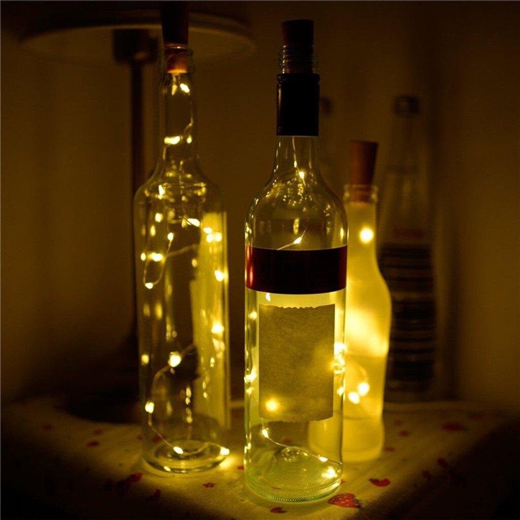【全館免運】2M 20LED 瓶塞銀線燈串酒瓶燈夜間 仙女燈 燈聖誕派對的家居裝飾品 發光Led紅瓶塞燈串20燈瓶塞燈