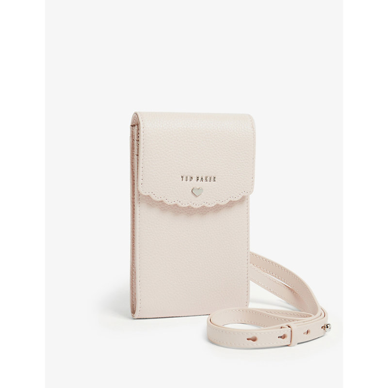 Scalloped leather cross-body phone pouch