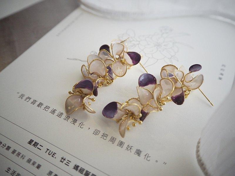 奼紫嫣紅 花朵垂墜式樹脂耳環