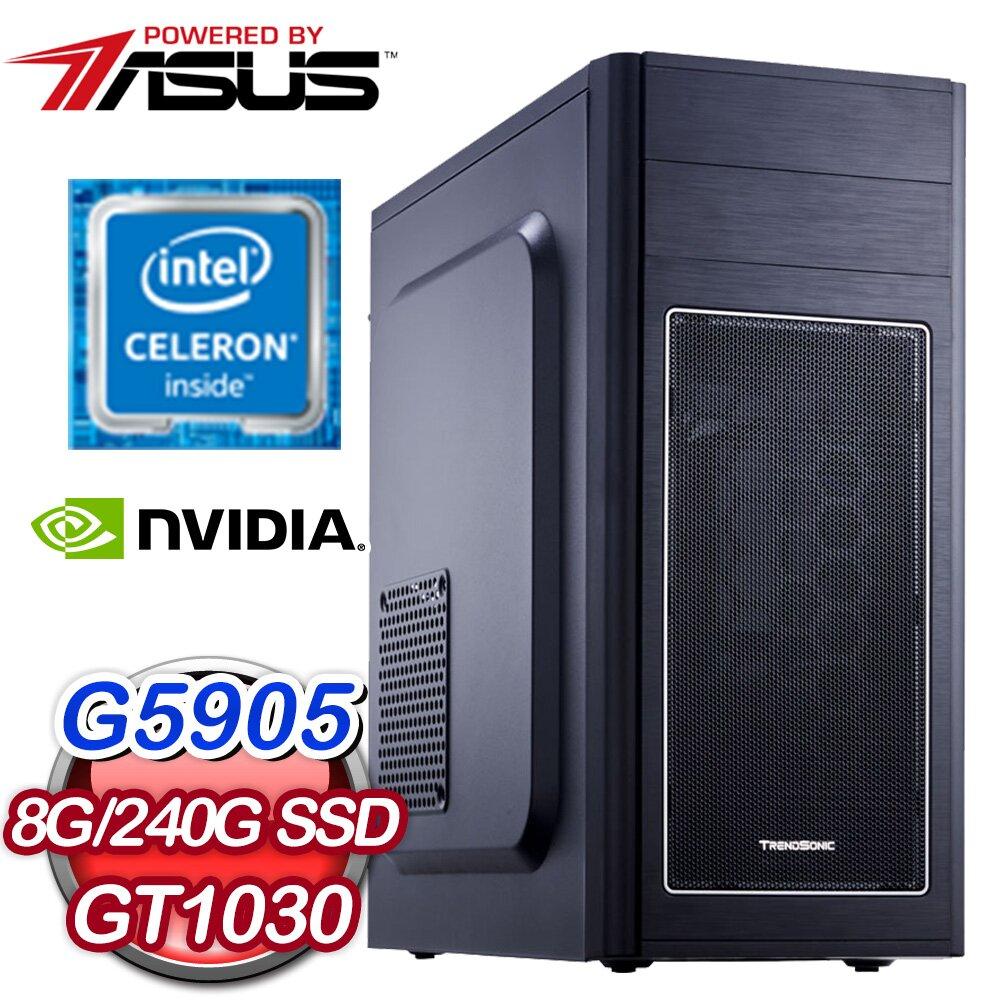 華碩系列【萬物生潮I】G5905雙核 GT1030 電玩電腦(8G/240G SSD)