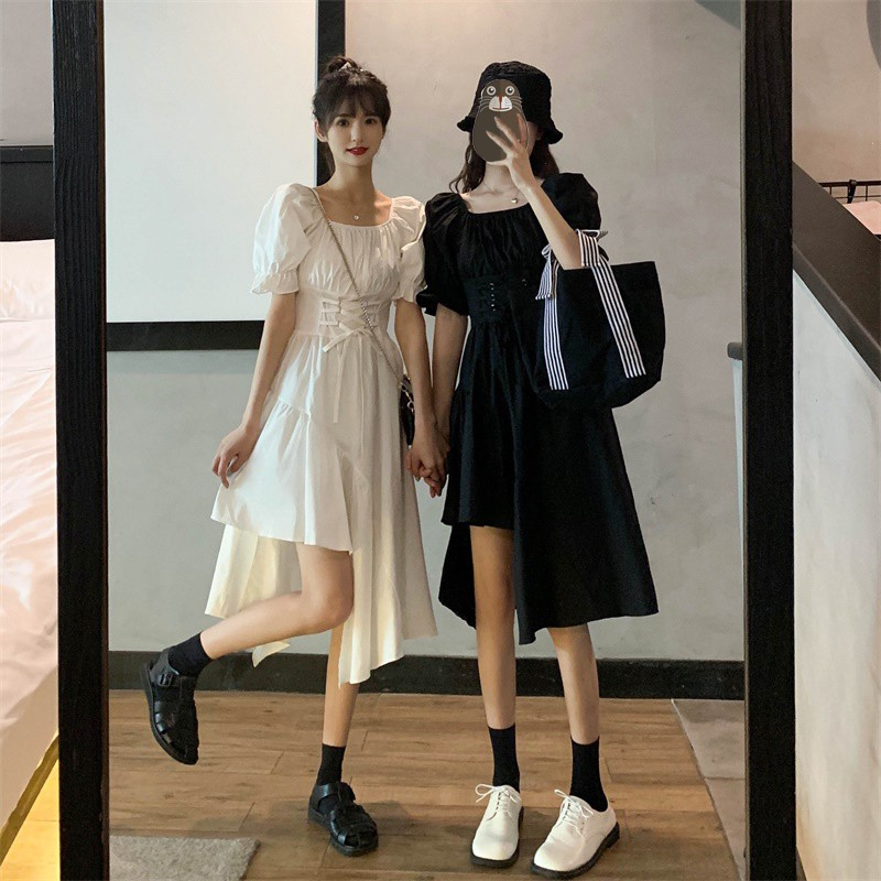 短袖洋裝 閨蜜裝 休閒 顯瘦裙 收腰 連身裙 夏季新款抽繩收腰顯瘦不規則連衣裙