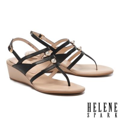 涼鞋 HELENE SPARK 高雅別致星鑽珍珠王字條帶楔型高跟夾腳涼鞋-黑