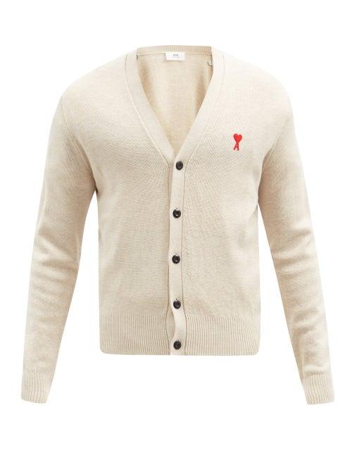 Ami - Ami De Caur-embroidered Merino-wool Cardigan - Mens - Light Beige