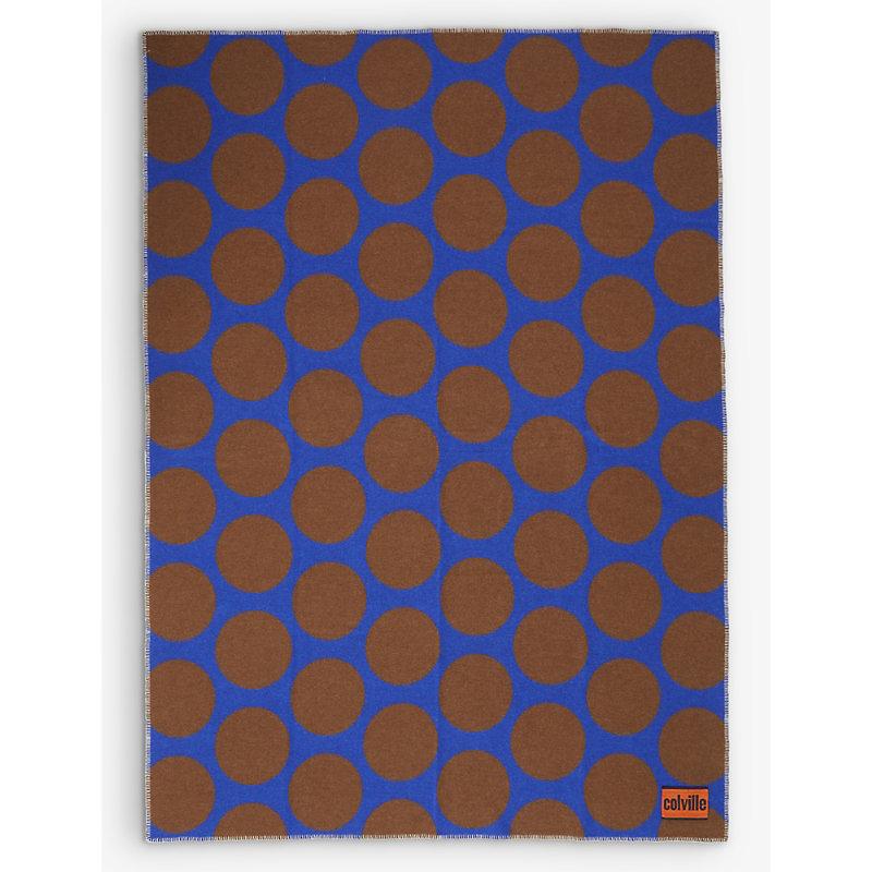 Polka-dot wool-blend blanket 205cm x 145cm