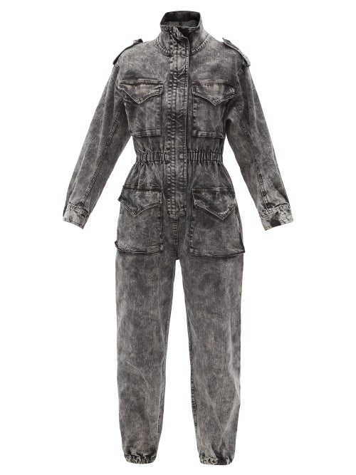 Norma Kamali - Flap-pocket Denim Jumpsuit - Womens - Black Multi